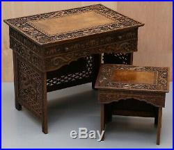 Rare Chinese Export Dragon Carved Small Folding Campaign Desk & Chair Set Childs