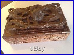 Rare Hand Carved Chinese Wood Floating Antique Dragon Jewelry Box