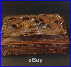 Rare Hand Carved Chinese Wood Floating Dragon Jewelry Box