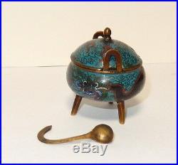 Rare Old Chinese Dragon Designed Cloisonne Enamel Opium Censor Snuff Box