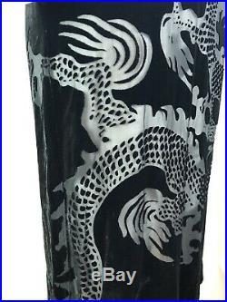 Rare Vtg Alexander McQueen SS1997 Sheer Chinese Dragon Velvet Dress Sz 42 S/M
