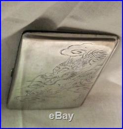 Really Nice Chinese Cigarette Case with Dragon Sterling Silver Antique