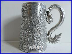 SUPERB ANTIQUE CHINESE SOLID SILVER DRAGON HANDLE MUG w. WARRIORS 1850's