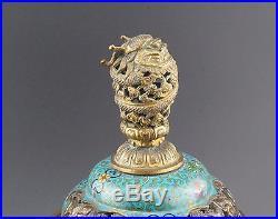 SUPERB Antique Chinese Cloisonné Tripod Incense Burner Censer Dragon Cover 19thC