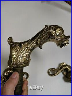 Sherle Wagner Brass Chinese Dolphin Sea Dragon Faucet+handle Fixtures Vintage