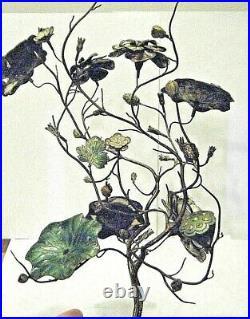 Signed Antique 15 Chinese Silver Gilt Enamel Jardinière Flower Pot Dragons Fish