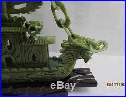 South China hand-carved Taiwan jade dragon boat, Sailing NR