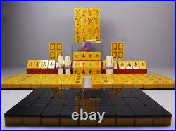 Superb 1930's Chinese Bakelite Mahjong Mahjongg 16 Flower Wafer Back Dragon Dots
