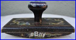 Superb 19th Century Chinese Black Cloisonne Enamel Dragon Ink Blotter