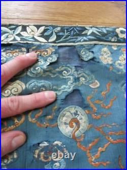 Superb Antique Chinese Gold Thread Dragon Embroidery, Measures 72 X 34 Inches