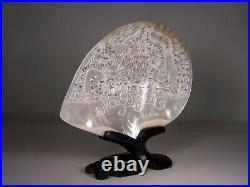 Superb Chinese Carved & Pierced Mother Of Pearl Shell Dragon & Phoenix W Stand
