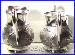 Tall Antique Chinese Export Sterling Silver Teapot+creamer+sugar Dragon Tea Set