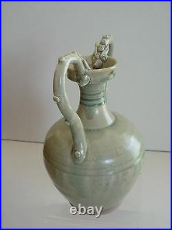 Tang Dynasty Green Glaze Double Dragon Vase