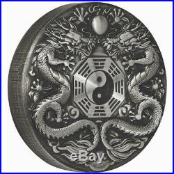 Tuvalu 2019 Double Dragon Chinese Mythical Creatures $2 2 Oz Silver Antiqued