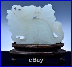 UNUSUAL 17/18C CHINESE MING QING DYNASTY WHITE HETIAN JADE WINGED QILIN DRAGON