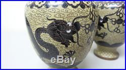UNUSUAL PAIR 19th Century ANTIQUE CHINESE CLOISONNE ENAMEL 6.75 DRAGON VASES