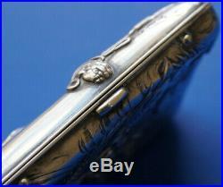 Unusual Silver Chinese or Japanese Card Cigarette Case FALCON & DRAGON Falconry