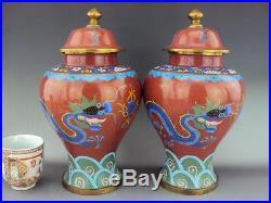 V-Fine Pair Cloisonne Enamel Dragon Vases Chinese Oriental Antiques