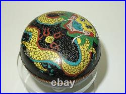 VERY DESIRABLE ANTIQUE LATE 19 c QING CLOISONNE BOX with DRAGON MOTIF