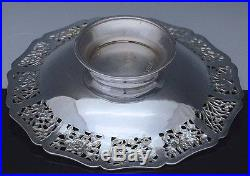 VERY FINE ANTIQUE CHINESE STERLING SILVER DRAGON LOTUS FIGURAL BASKET BOWL DISH