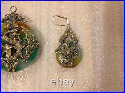 VINTAGE CHINESE JADE PENDANT WITH DRAGON METAL OVERLAY /Set Of Earrings