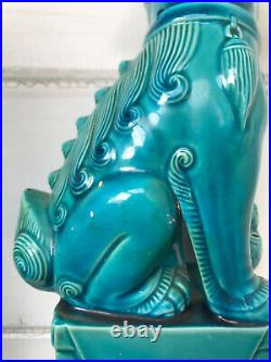 VINTAGE Pair 10 Inch Oriental Feng Shui Temple Lion Foo Dogs Dragons Excellent