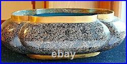 Vintage 10'' Chinese Cloisonné Oval Dragon Brass Jardinière Bowl Planter