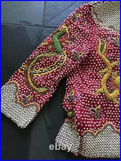 Vintage 1960's Dragon Jacket Beaded With Pearls And Rhinestones