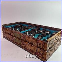 Vintage Ancient Chinese Chess Set Carved Dragon Temple Asian Board Pieces
