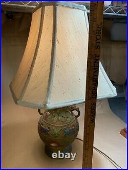 Vintage Antique Chinese Champleve BRASS & ENAMEL CLOISONNÉ TABLE LAMP Dragon