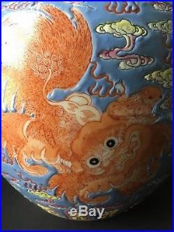 Vintage Antique Porcelain Large Chinese Ginger Jar with Lid Foo Dog Dragon Blue
