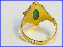 Vintage Chinese 24K Solid Gold Natural Type A Jadeite Jade DRAGON Ring. Size 7