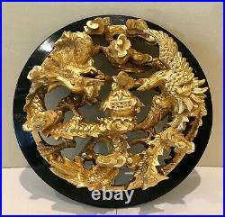 Vintage Chinese Phoenix and Dragon Scenery Wood Carving Gold Gilt Framed Panel