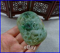 Vintage Fine Natural Type A Icy Jadeite Jade Dragon Phoenix Big Antique Pendant