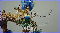 Vintage Gold Gilded Sterling Filigree & Enamel Signed Chinese Dragon on Stand