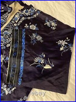 Vintage Navy Blue Embroidered Chinese Silk Robe Butterflies Dragons