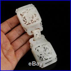 Vintage Openwork Chinese Hetian Jade Dragon Phoenix Belt Buckle