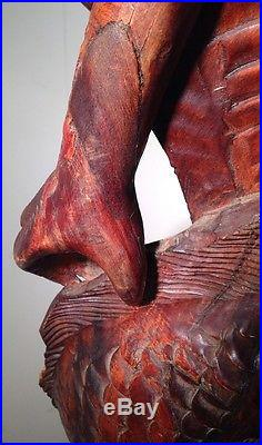 Vintage Rosewood Hand Carved Double Chinese Water Dragons Wood Statue 36.5 Tall