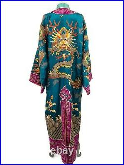 Vintage SIlk Chinese Dragon Robe Turquoise Magenta Embroidered NEEDS REPAIR