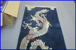 Vintage Tibetan Dragon Blue Rug Carpet Chinese Art Deco Hand Knotted Wool 3'x6