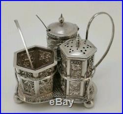Vtg c1900 Sun Shing Chinese Export Solid Silver Dragon Cruet Set Salt Pepper Pot