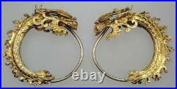 WOW Antique Chinese Ming Dynasty 22K Gold Dragon Fish Hoop Wire Earrings Signed