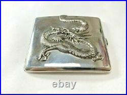 Wai Kee 1900's Antique Chinese Asian Silver Dragon Cigarette Case