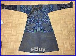 Wonderful Antique Chinese Summer Silk Blue Robe With Dragons 51 in x 80 in