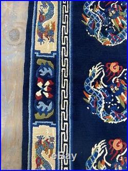 Wonderful Old Handmade Vintage Dragon Design Chinese Rug 5.10x2.11